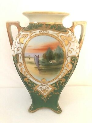 "Antique Nippon Green And Gold Two Handled Vase With Sailing Boat 10"" Tall"