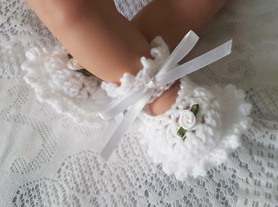 """Crochet Shoes to fit 19""""-21"""" Reborn doll - White."""