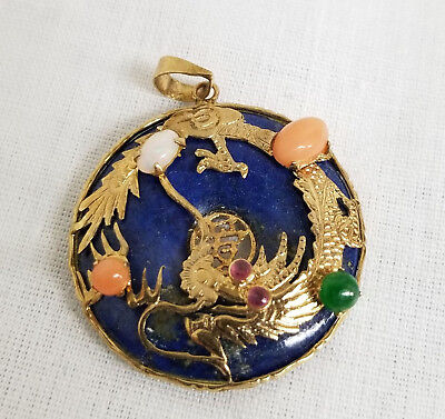 Antique Chinese Lapis Lazuli and 14kt 585 Gold Coral Jade Jadeite Pendant