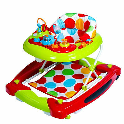 Red Kite Spots Baby Go Round Musical Twist Adjustable Walker Rocker Activity Toy