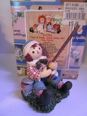 Raggedy Ann & Andy Fishing Figure~ Cast A Smile, Catch Some Joy ~ #677701 Enesco