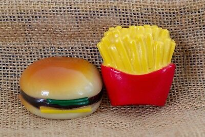Vintage Hamburger and Fries Refrigerator Magnets, collectible