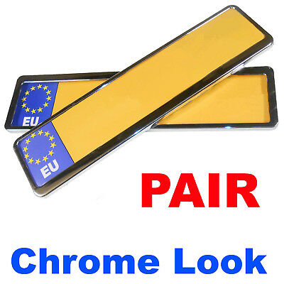 2x Front & Rear Chrome Car Van Licence Number Plate Frame Surrounds Holders Pair