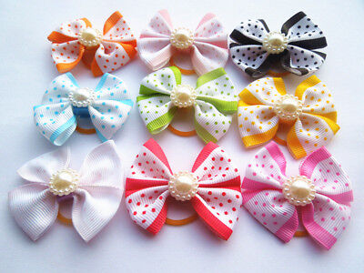 30Pcs Dog Hair Bows With Rubber Bands Cat Design Pet  Hair Accessories