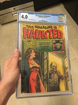 This Magazine Is Haunted #5 CGC 4.0 OW/W Classic Zombie Precode Horror Cover