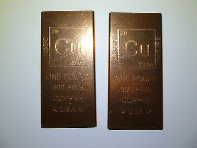 Lot of 2 Copper One Pound .999 Fine Bars