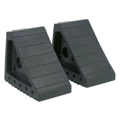 WC01 Sealey Rubber Wheel Chocks 2.2kg - Pair [Ramps & Chocks]