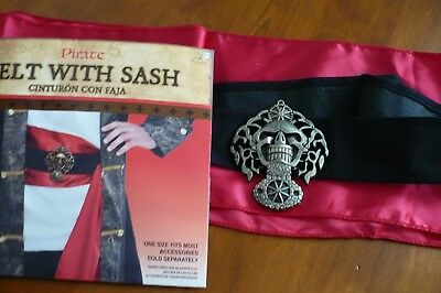 BELT WITH SASH...BUCCANEER PIRATE BELT..Adult Costume Accessory, One Size