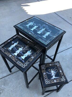Vintage Oriental Mother Of Pearl 3 Asian Nesting Tables Black Lacquer