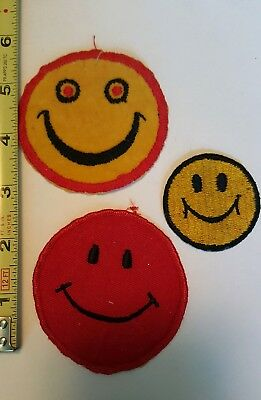Vintage Lot of 3 Retro Happy SMILEY FACE Mod Embroidered PATCHES