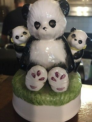 3 Panda Bears Otagiri Japan Music Box Plays You Light Up My LiFe.
