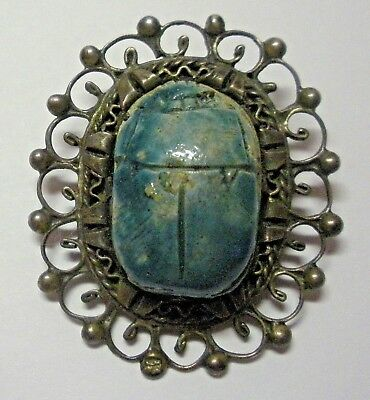 Vintage 1950s Egyptian Revival Faience Scarab Beetle Brooch Pin Silvertone Art