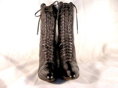 Vintage Victorian Period Black Leather Lace Up Boots US 7 1/2