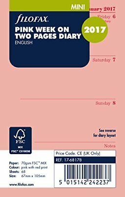 Filofax Mini Week on Two Pages in English 2017 Diary - Pink