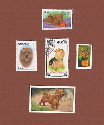 Norfolk Terrier dog stamps and cigarette trade card set of 5