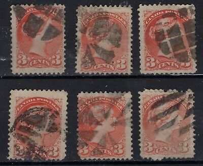 Canada used #37   12P CORK CANCELS on SMALL QUEENS FINE