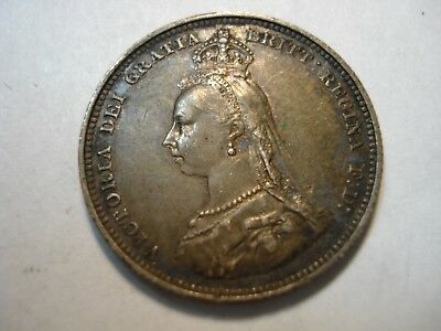 Great  Britain  Silver   1  Shilling    1887   High Grade Toned