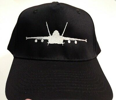 F-18 Hornet Strike Fighter Silhouette Silver Embroidery on Black Hat New