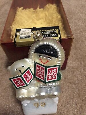 Lot Of Two Blown Glass Hallmark Frosty Friends Ornaments