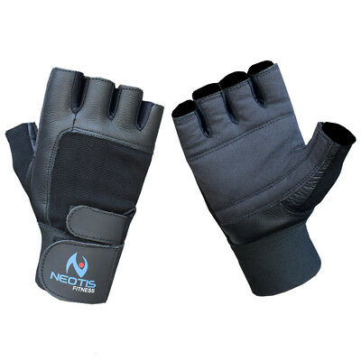 Neotis Gym Real Leather Gloves Weight Lifting Fitness Training Padded Gloves