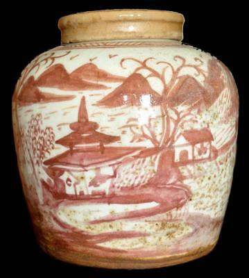 "❤ 19thC Iron Red 8"" Ginger Storage Jar Rural Boat Scene w/ Lid Antique Porcelain"
