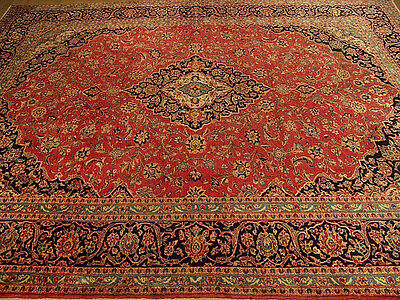 9.7 x 12.7 Handmade High Quality Antique Persian Rug _ Fine Soft Silky Wool