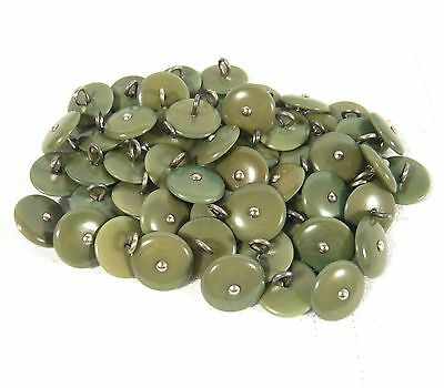 Vintage Lot of 50 Green 15mm Pin Shank Buttons - new old stock - 6/10 of 1 inch