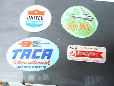RARE LOT OF 4 VINTAGE AIR LINE BAGGAGE  Decals Labels ~
