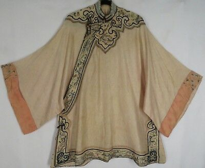 Antique Chinese Qing Woman Silk Court Robe Embroidered Sleeve Bands Yoke Gauze