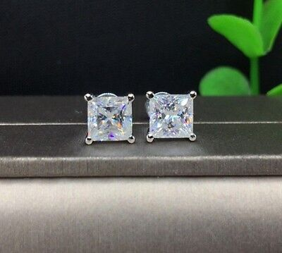 2Ct Princess Cut Solitaire Diamond Earrings Square Stud With 14K White Gold Over