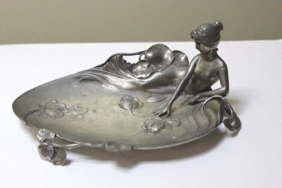 Vintage Art Nouveau Pewter Visiting Card Tray with Mermaid