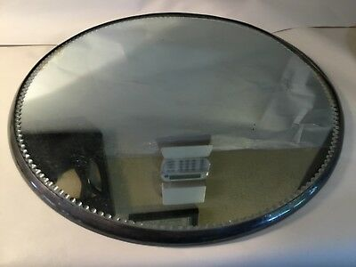 "Antique Low Mirror Silver Plateau 14"" With Scalloped Edges"