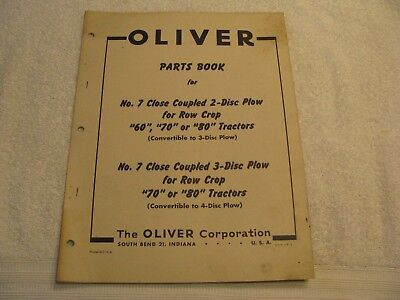 Original Oliver Parts Book Close Coupled Plow for 60/70/80 Row Crop Tractors