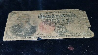 Fr 1376 50 Cents Fourth Issue Fractional Red Seal Circulated!