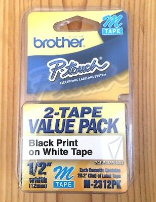 "2-Pack Brother P-Touch M Tape Black Print on White 1/2"" Width M-231 M-2312PK"