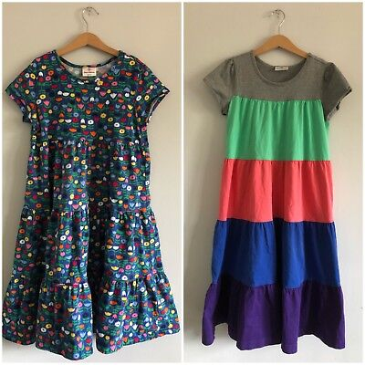 Hanna Andersson 150 Dress Lot 2 Brightly Colored Short Sleeve Tiered Dresses 12