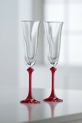 (Clear/Red) - Galway Crystal Liberty Flute (1 Pair), Clear/Red. Best Price