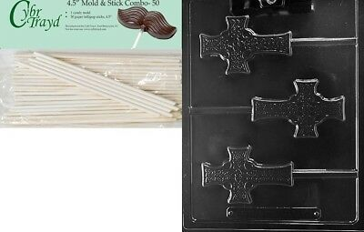 (+50 Sticks) - Cybrtrayd Celtic Cross Lolly Chocolate Candy Mould with 50 11cm