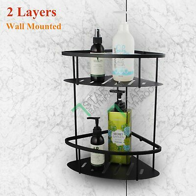 2 Tier Triangular Shower Caddy Shelf Bathroom Corner Storage Basket SS304 Black