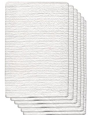 Gourmet Pro 6 Pack Ribbed Barmop Kitchen Towel 16X19 100 Cotton Terry, White, 1