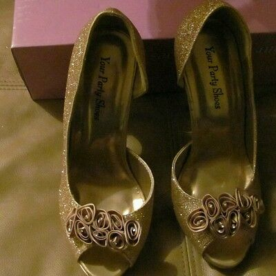 Gold party shoes size 7 1/2. 5 inch heals