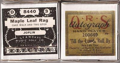 Pianola Rolls x 2 Maple Leaf Rag. Scott Joplin + Till the Clouds Roll By QRS