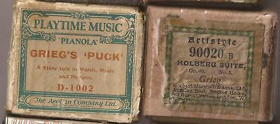 Pianola Rolls x 2 composed by Grieg. RARE Illustrated Childrens roll + 1 more