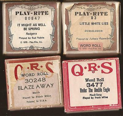 Pianola Rolls x 4  Blaze Away March. Little white Lies + 2 more modern rolls