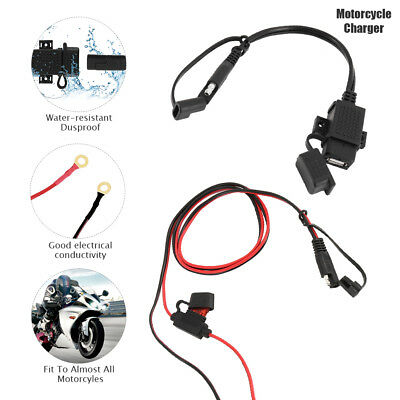 Motorcycle 12V SAE to USB Phone GPS Charger Cable Adapter Inline Fuse Waterproof