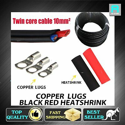 Electrical 10mm² Twin Core Cable Wire 4X4 12V W/ Copper Lugs Hole 6mm 8mm 10mm