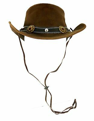 Scippis Rugged Earth Leather Hat Cowboy Hat Western Hat Concho, Brown, S-XL