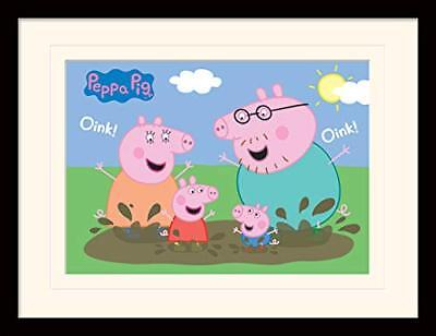 Peppa Pig Pig Family Muddy Puddle Mounted and Framed Print, Multi-Colour, 30 x 4