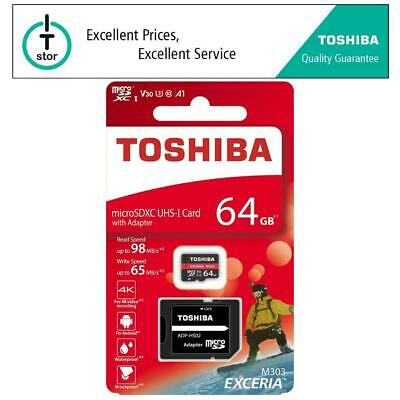 64GB Toshiba EXCERIA M303 Micro SD Memory Card with SD Adapter Class 10 U3 - 4K