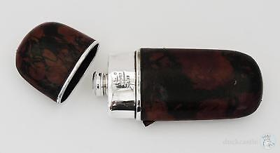 Antique SILVER PLATED LEATHER Covered HIP FLASK by James Dixon & Sons